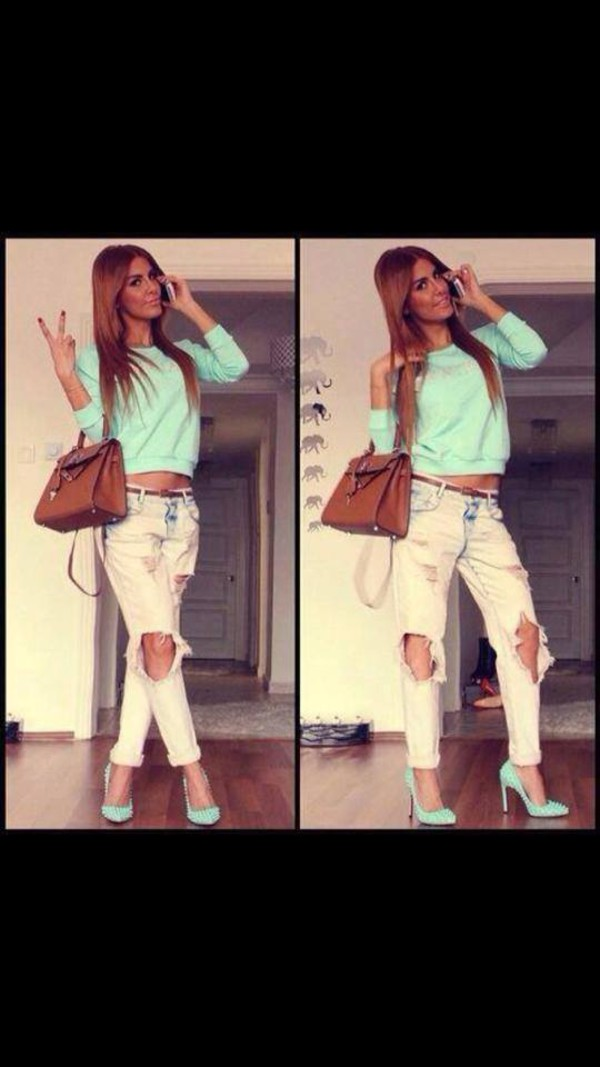jeans top shoes blouse