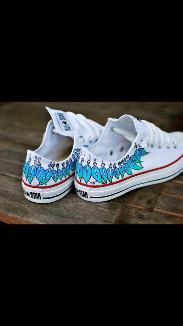 shoes converse feathers white blue cool girl style converse