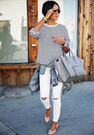 bag classy white jeans stripes top denim jacket day outfit pink shoes grey
