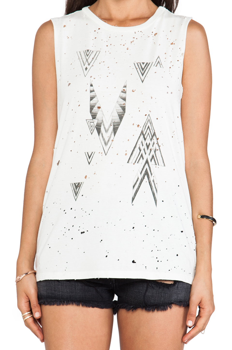 DAYDREAMER Geometrics Thrashed Muscle Tee in Cream | REVOLVE