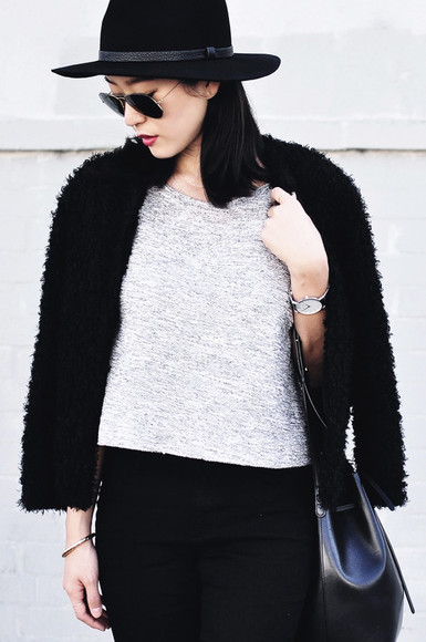 blogger sunglasses bag jacket top her imajination faux fur jacket