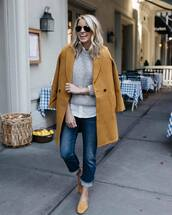 coat,long coat,wool coat,flats,cropped jeans,white shirt,sweater,knitted sweater,aviator sunglasses