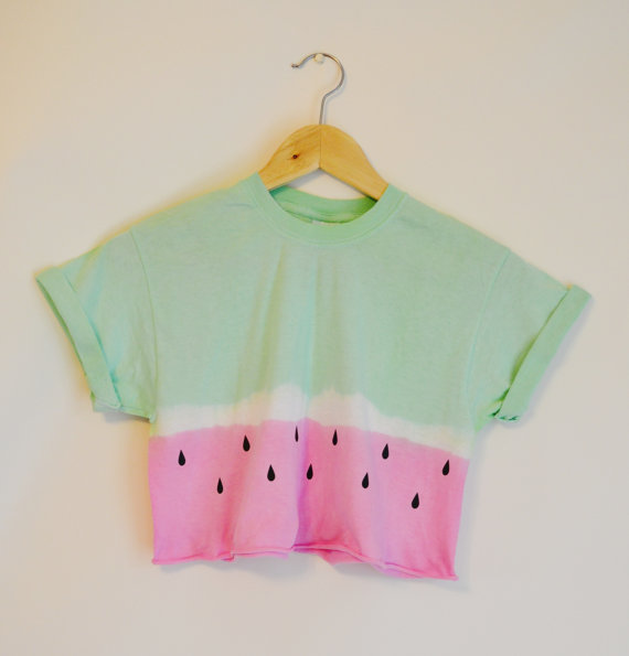 Tie Dye Dip Dye Crop Top Cropped T Shirt Summer Holiday Hipster Festival Watermelon Small   Medium Pink / Green