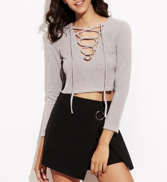 top girl girly girly wishlist crop crop tops cropped lace up lace up top long sleeves
