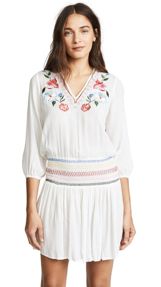 dress embroidered floral white