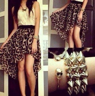 skirt leopard print t-shirt white t-shirt jewels dress animal print black and brown dress high low skirt