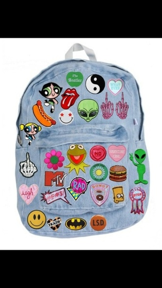 bag the powerpuff girls cartoon denim patch mtv bart simpson