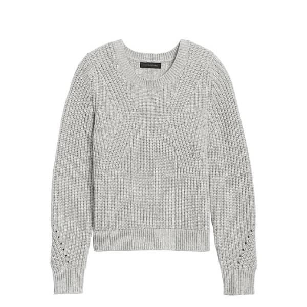 Banana Republic Women's Chunky Pointelle Sweater Light Gray Regular Size XS