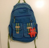 bag,blue,green,backpack,cute,anime,hipster,lovely,creatures,creature,jcpennies,jcpenny's,orange