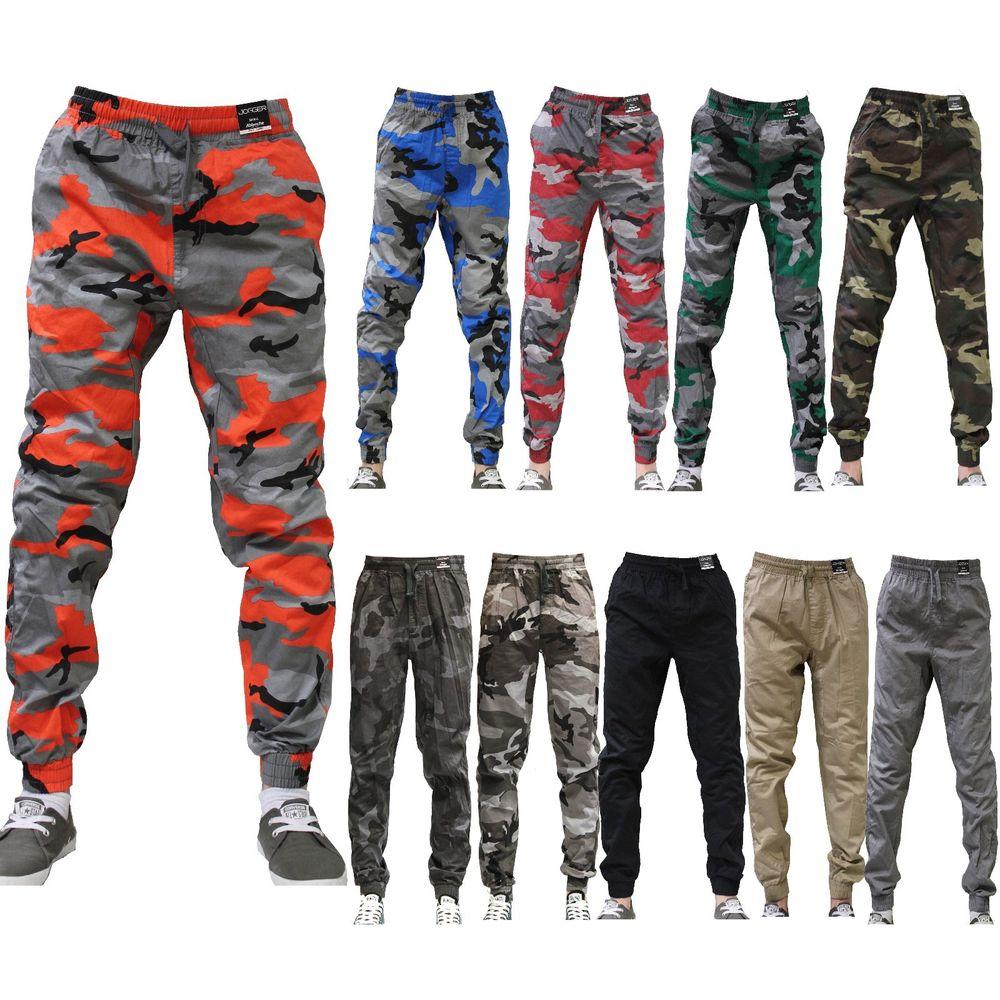 8631b9943fe7e3 JOGGER Men Elastic Waist Drop Crotch Twill Harem Trousers Camouflage sweat  pants