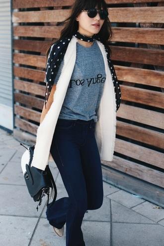 natalie off duty blogger jeans shirt jacket sunglasses bag shoes