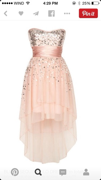 blush sequins high low