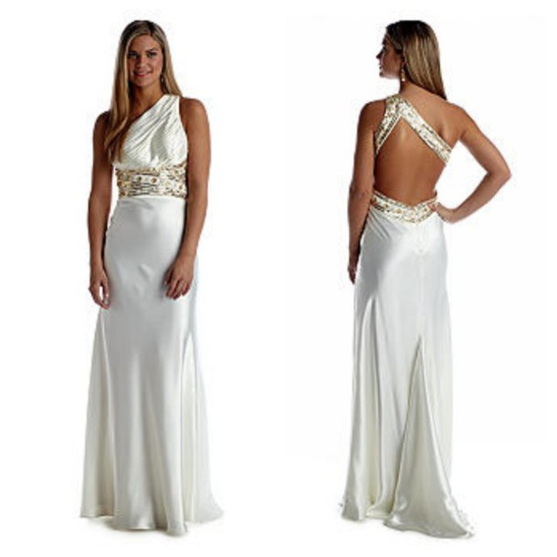 dress one shoulder prom dress empire waist white dress sequins prom gown