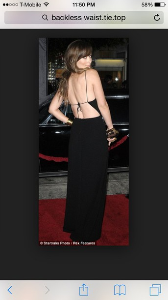 dress black jersey tie back maxi