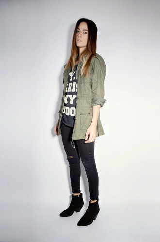 quality rivets blogger parka army green jacket ripped jeans black jeans