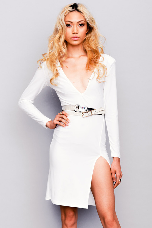 Lethalbeauty ? white deep v backless side slit fitted bodycon dress