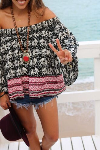 top off the shoulder elephant print flowy tribal pattern boho oversized classy pinterest girl blouse loose casual ' boho shirt elephant print