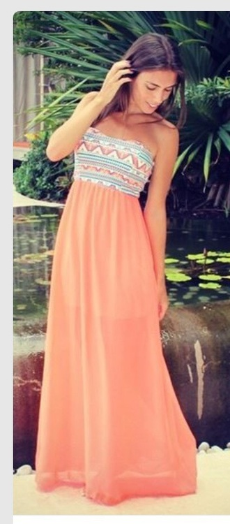 tribal pattern straples coral dress maxi dress aztec