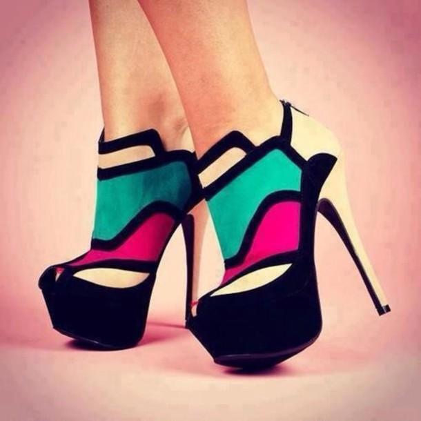 shoes high heels pink black blue
