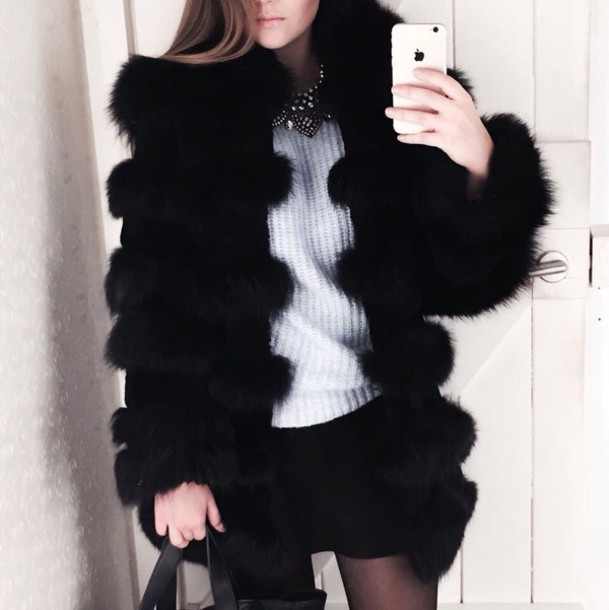 coat black fur coat