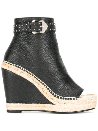 studded women boots platform boots leather black shoes