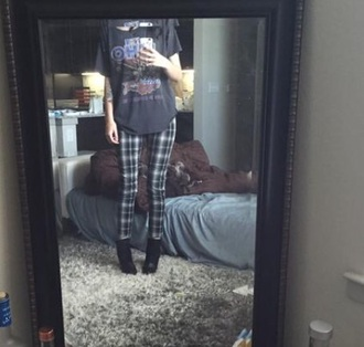 jeans plaid skinny jeans vans warped tour