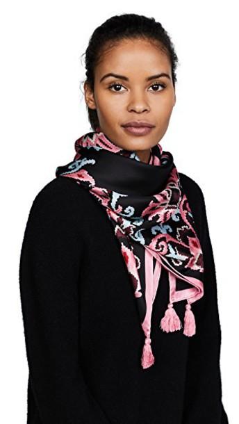 Kate Spade New York tapestry scarf silk black