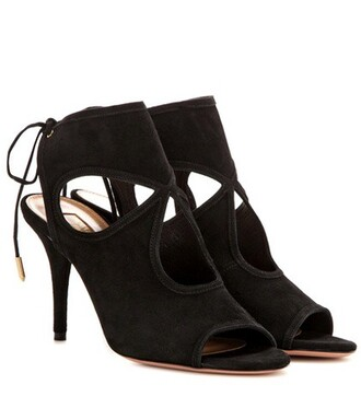 sexy sandals suede black shoes