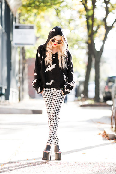 vichy blogger rock i hate blonde hoodie bats high heels grunge