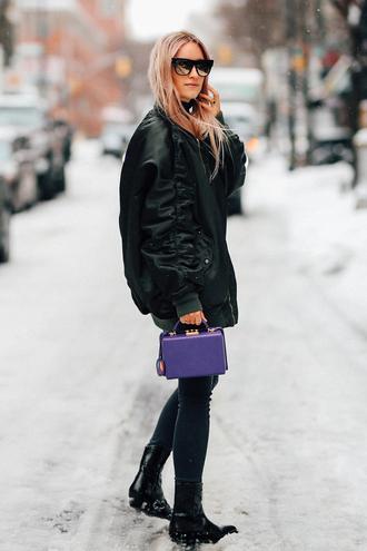 the fashion guitar blogger jacket jeans shoes bag sunglasses boots handbag