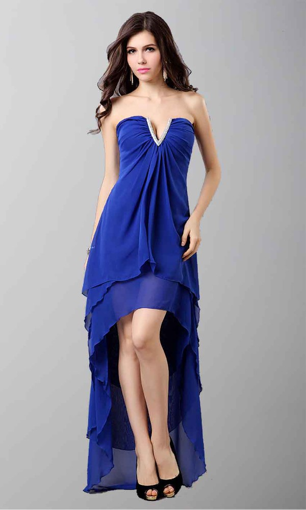 blue dress high low prom dresses sexy dress layers v neck dress empire waist dress chiffon dress party dress homecoming dress graduation dresses