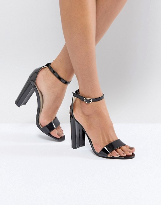Glamorous Black Barely There Block Heeled Sandals at asos.com