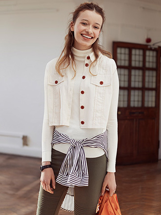 jacket cute casual white jeans winter style red buttons white jacket white creamy