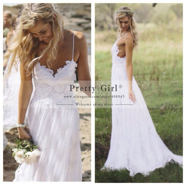White Chiffon Beach Wedding Dresses