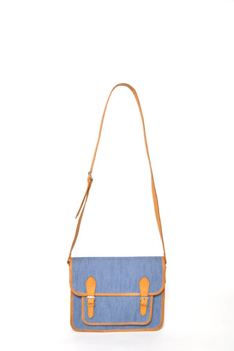 Motel mia satchel bag in denim chambrey