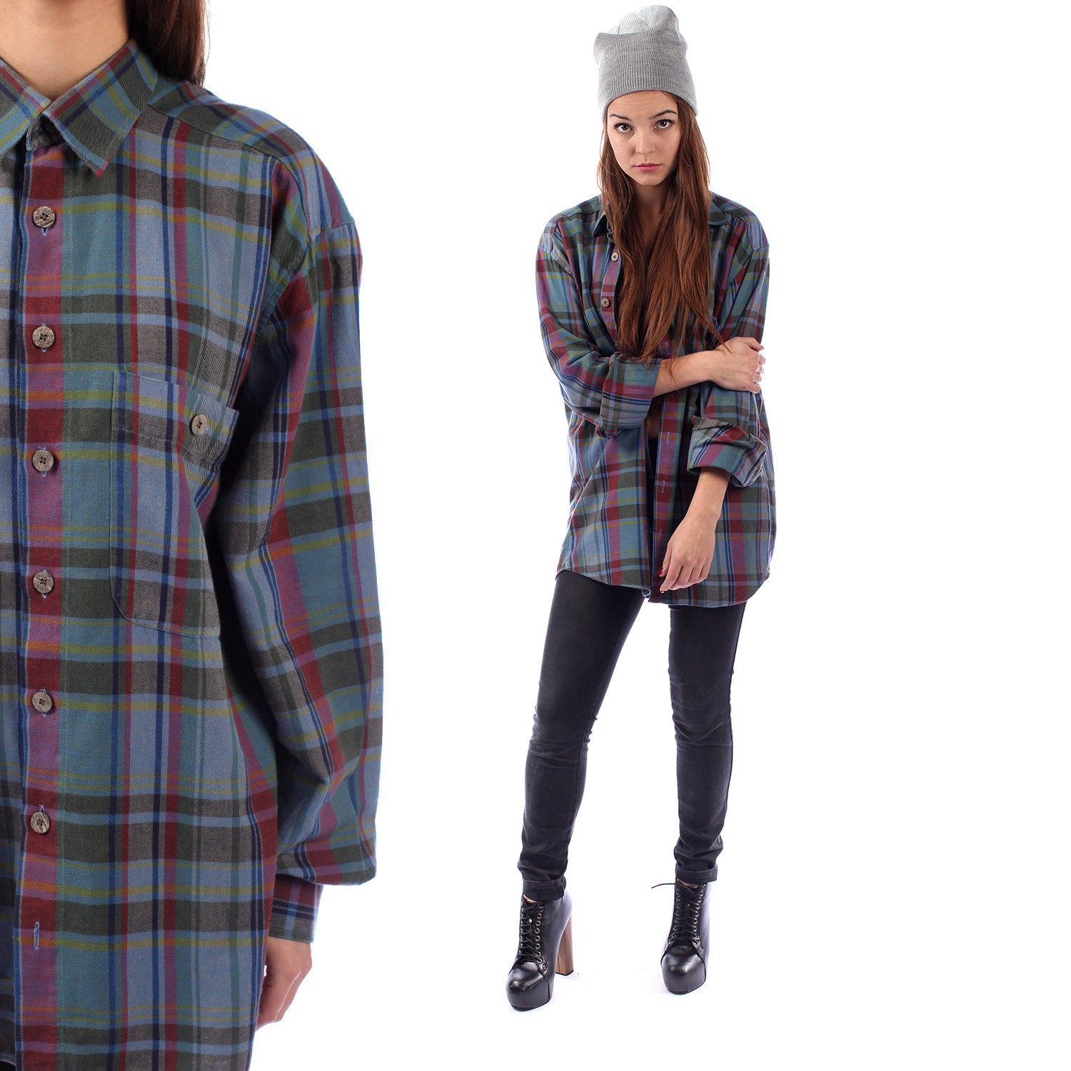 OVERSIZED Plaid Shirt 80s Blue Purple Green GRUNGE Vintage Button Up Lumberjack Long Sleeve ...