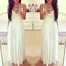 White Plunging V Neck Lace Top Spaghetti Strap Low Back Sexy Maxi