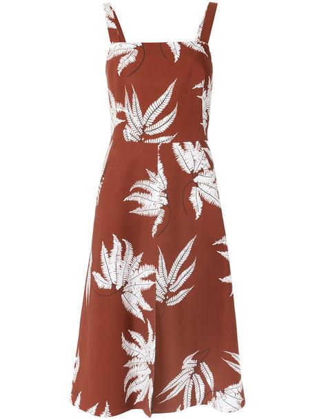 Andrea Marques dress midi dress women midi spandex floral cotton brown