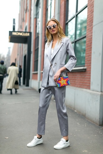 pants suit silver blazer romee strijd sneakers streetstyle paris fashion week 2017 fashion week 2017 sunglasses purse model off-duty mini bag