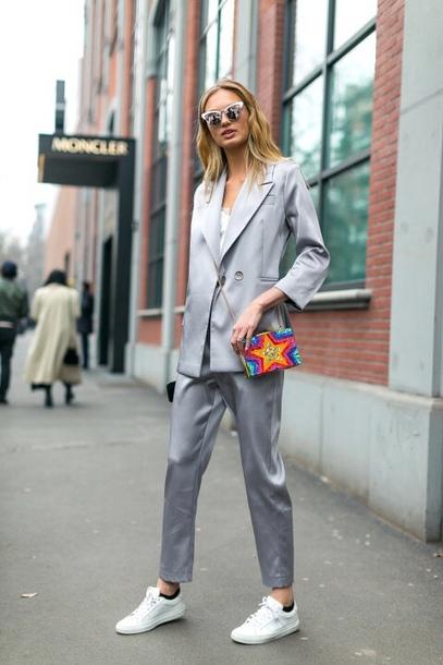Pants Suit Silver Blazer Romee Strijd Sneakers