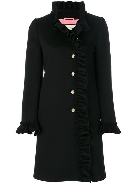 gucci coat ruffle women black silk wool