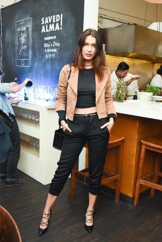 jacket top pants crop tops cropped pants pumps bella hadid