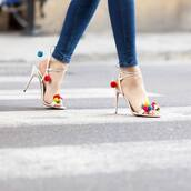 shoes,pom poms,heels,stilettos,aquazzura,metallic shoes,Aquazzura sandals,pom pom sandals