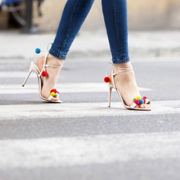 shoes, pom poms, heels, stilettos