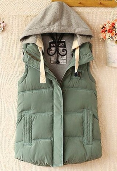 army green jacket vest green vest hooded vest green hooded vest