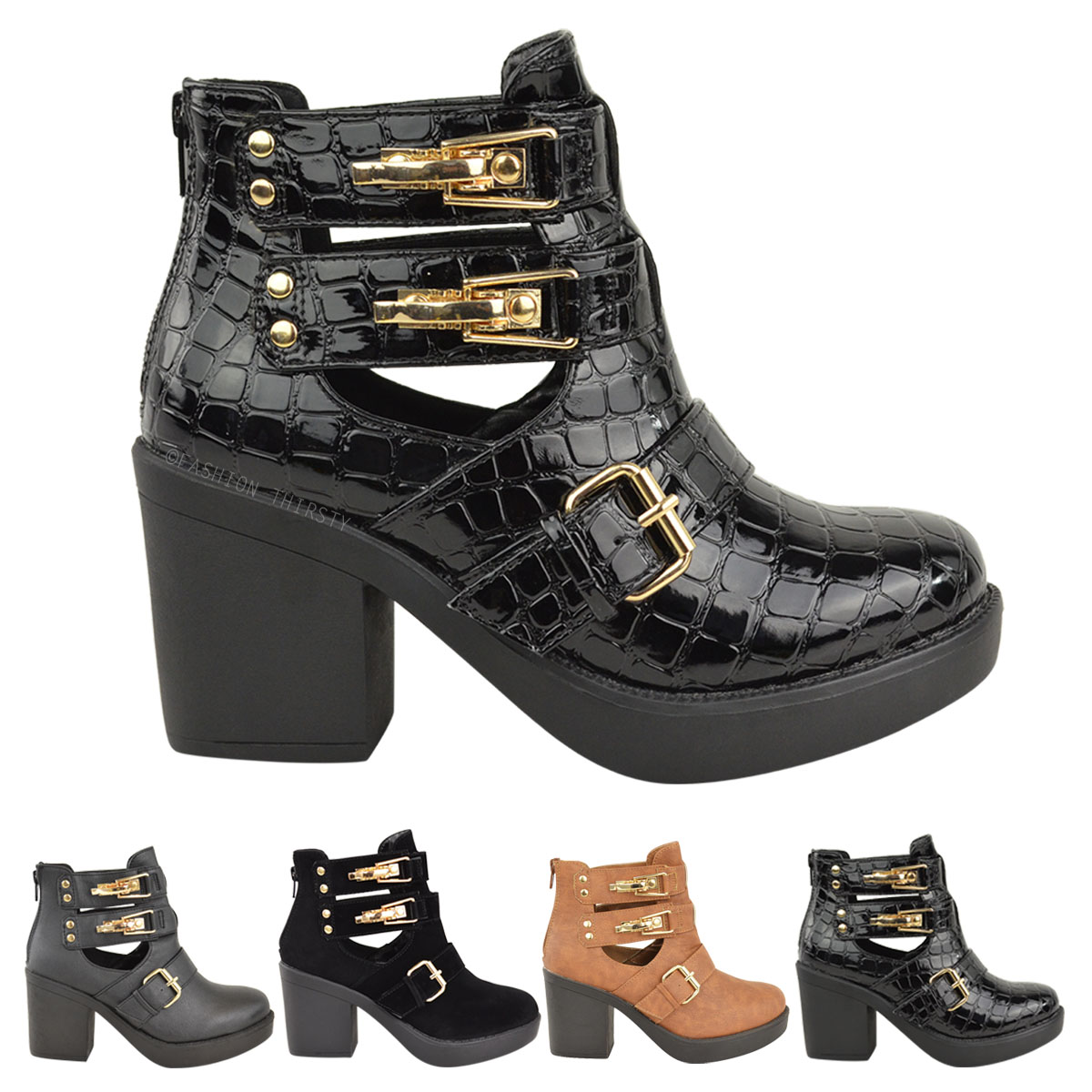 Ladies Womens Ankle Boot Mid Block Heel Gold Buckles Cut Out Winter Shoes Size   eBay
