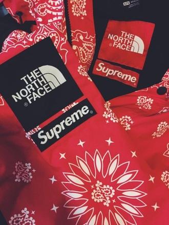 coat jacket zip up zipup bandana northface north face supreme