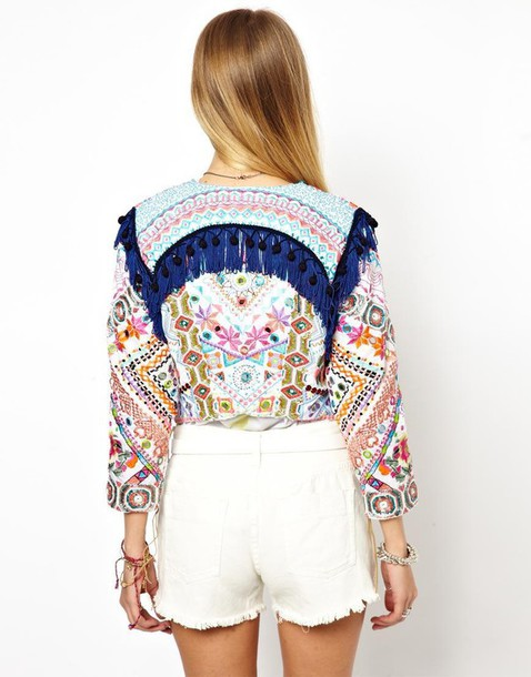 jacket asos fringes embellished jacket mirrored