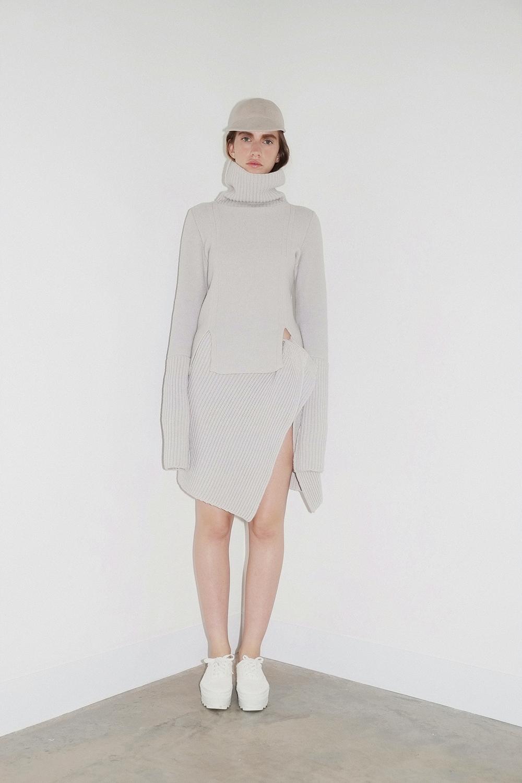 Chalk merino envelope skirt