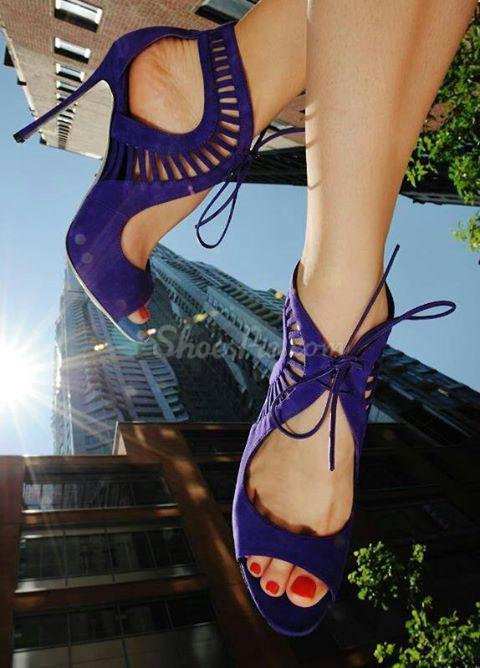 Gorgeous Blue Suede Peep Toe Cut-Outs Lace-Up Bowtie High Heel Shoes